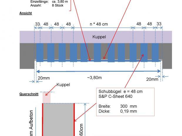 Skizze zur geplanten Unterzugsverstärkung.